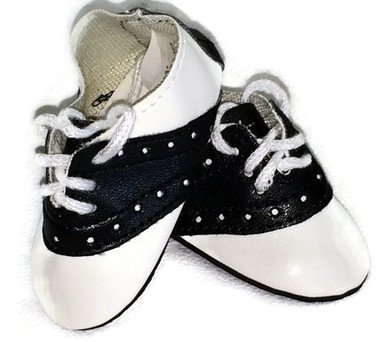 Doll Shoes fit American Girl Doll and Other 18 Inch Dolls Black and White Saddle Shoes - 1