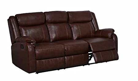 Global Furniture Reclining Sofa with Table and Drawer, Brown