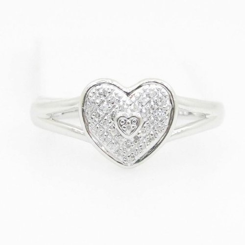 Womens Kimmy .925 Italian Sterling Silver round cut 0.10 diamond engagement ring