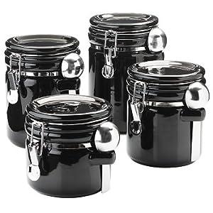 amazon com oggi 4 piece round airtight ceramic canister