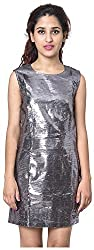 Izna Women's Slim Fit Dress (IDWD1002GM-Large, Silver, Large)