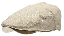 Men\'s Linen Flat Ivy Gatsby Summer Newsboy Hats (Khaki, LXL)