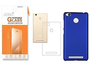 Redmi 3S Prime Tempered Glass, Premium HD+ Tempered Glass Screen Combo Xiaomi Redmi 3S Prime Clear Soft Silicone Transparent Back Cover Case Combo Xiaomi Redmi 3S Prime Rubberised Dark Blue Back Cover For Redmi 3S Prime Tempered Glass