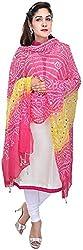 Femezone Women 's Dupatta (Pink and Yellow, 240 cm)