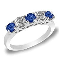 5 Stone Round Blue Sapphire and Diamond Ring in 14K White Gold (1/2 ctw)
