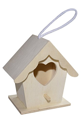Wooden Bird House Painiting Craft Kit with Hanging Hook for Tree, Outside, Indoor. Heart Shaped.
