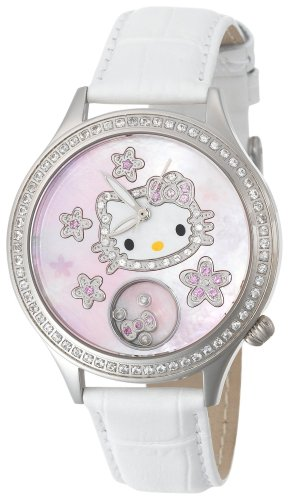 Hello Kitty Women's HWL1049WSAN0 Kimora Lee Simmons Flower Diamond White Leather Watch