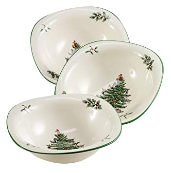 #!Cheap Spode Christmas Tree Dip Dishes, Set of 3