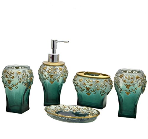 High Grade 5 Pieces Bathroom Accessory Set With Shabby Chic Green With Jacquard Ensemble,Resin Sanitary Ware,Home Decor,Bath Ideas,Home Gift