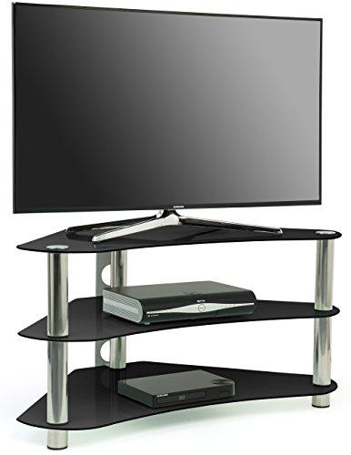 meuble tv lcd moderne en verre laqué blanc et noir lubla – Artzeincom -> Meuble Tv DAngle En Verre Noir