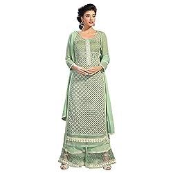 Bhelpuri Women Light Green Net Georgette Dress Material