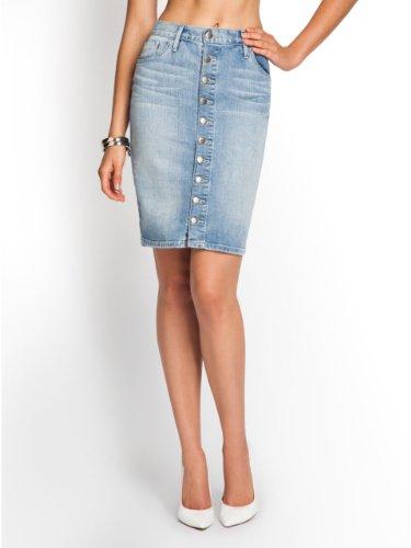 GUESS Brittney Button-Front Denim Pencil Skirt