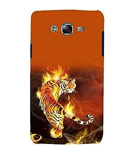 printtech Flaming Tiger Design Back Case Cover for Samsung Galaxy E5 / Samsung Galaxy E5 E500F