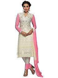 Isha Enterprise Women's Chiffon Dress Material(KFD400-1755_Pink , White )