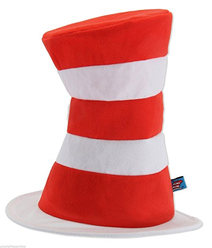 [Dr Seuss CAT IN THE HAT Costume Top Hat Adult Red White Striped Tricot LICENSED] (Zombie Zumba Costume)