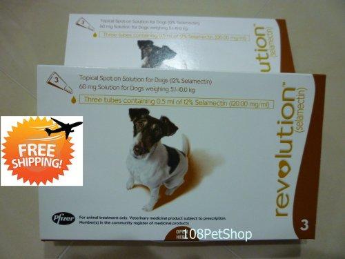 Revolution Dog Flea, Ear Mites, Worm 5.1-10.0 kg, 10-20 lbs (Brown), 6 Months. Exp:07-2014