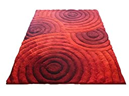 Curved Red 3D Shaggy Area Rug 5 x 7 Swirl Hand Woven Tufted 3 Dimensional Viscose Yarns Thick Pile 1045