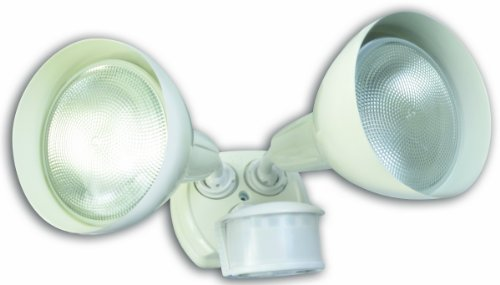 Designers Edge L6004Wh 270-Degree Diecast Metal Twin Head Motion Activated Security Flood Light With Bulb Shields, White, 240-Watt
