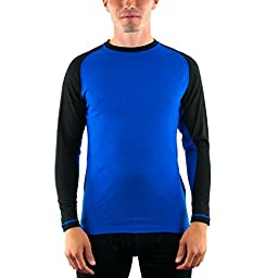 WoolX X304 Mens Base Camp LS Tee - Cobalt-Black -MED