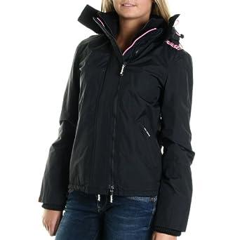 superdry pop zip hooded arctik wind jacke schwarz damen s bekleidung. Black Bedroom Furniture Sets. Home Design Ideas