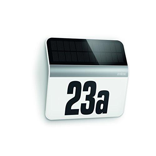 LED Hausnummern-Leuchte XSolar LH-N edelstahl, Beleuchtete Hausnummer inkl. 1200 mAh Lithium-Ferrum-Akku, Solar Außenwandleuchte mit Dämmerungsschalter und monokristallinem Solar-Panel, 007140