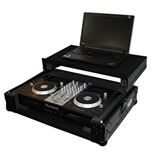 Pro X Cases XS-MixdeckEX-LTBL heavy duty DJ flight case constructed specifically to protect the Numark Mixdeck Express controller includes sliding laptop shelf and textured stage wood black design