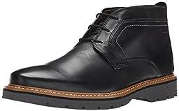 Clarks Men\'s Newkirk Top Chukka Boot, Black Leather, 8 W US