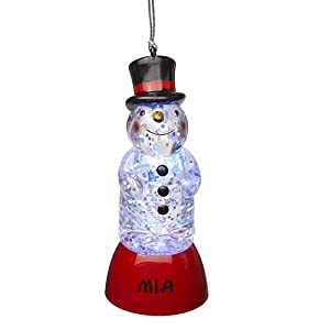 Personalized Color Changing Lighted Snowman Ornament-Mia