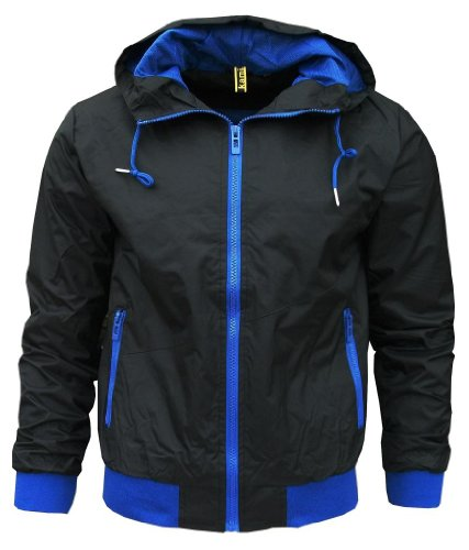 Kami Orbit Men's Lightweight Sports Rain Wind Jacket No Logo black / blue Extra Large