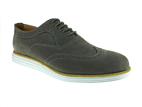 J Awake Men'S Henry21 Two Tone Wing Tip Casual Lace Ups, Gray, 11