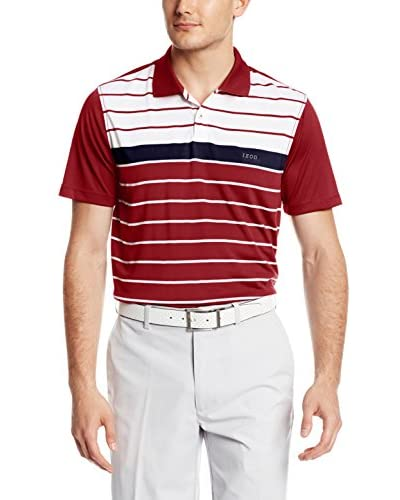 IZOD Men's Short Sleeve Cliff Side Engineered Stripe Golf Polo