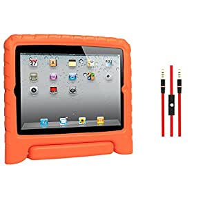 DMG Shock Proof Child Safe Styrofoam Protective Back Cover Case With Handle Stand for Apple iPad 2/3/4 (Orange) + AUX Cable