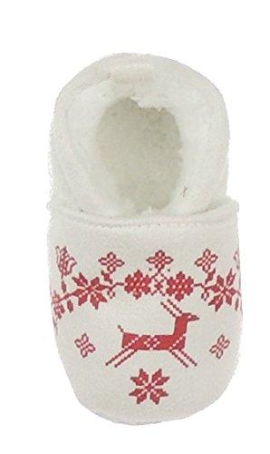 Cute pelliccia sintetica, motivo: Fair Isle, motivo Boys Girls baby Booties, Scarpette invernali da bambino fino a 1 anno Bianco bianco