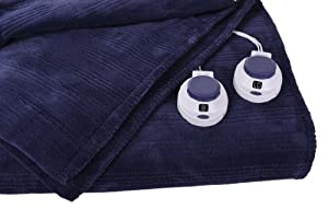 Softheat Triple Rib Plush Electric Warming Heated Blanket - Size (King) Color (Blue) at Sears.com