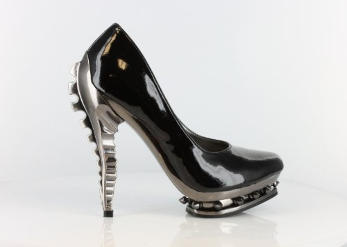 Hades Predator Patent Leather Stiletto Goth Punk Ladies Shoes (6.5, Black)