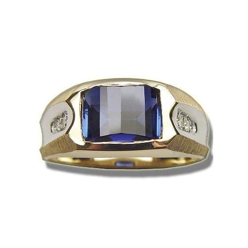 barrel cut saphire mens ring