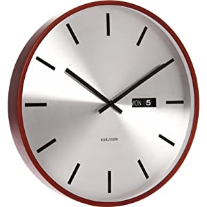 time karlsson steel date wall clock with wooden case wall clock