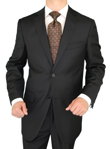 Cheap Giorgio Exclusive Platinum Label Italian Suit 100% Extra Fine Worsted Wool Super 150s 2 Button Jacket Plus Pants Black