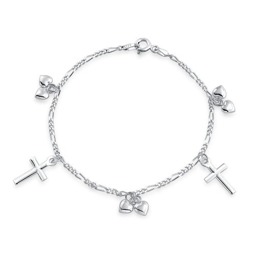 Bling Jewelry Dangle Love Hearts Religious Cross Kids Charm Bracelet Sterling Silver 6in image