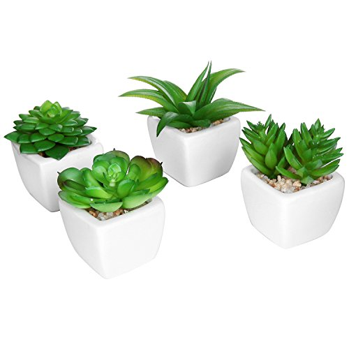 Set of 4 modern white ceramic mini potted artificial for Artificial plants for decoration