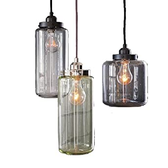 Unitary Vintage Color Glass Shade Mason Jar Pendant Light Max180W With 3 Lig