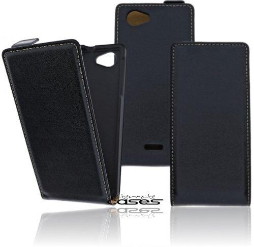 Premium Flip Style Case Handytasche für das Sony Xperia J ST26i Flip Case Handy Funktionstasche Etui Schutzhülle Cover mit Displayschutz - Ultra Dünn in schwarz / black bi-color