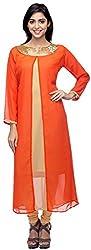 G&Z Collections Women's Georgette Straight Kurta (GZ004A, Orange, 40)