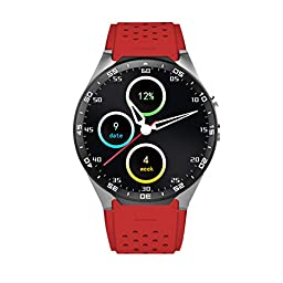 LOLERS Bluetooth Smartwatch KW88 MT6580 Quad Core 1.39 inch Amoled OGS Screen 3G Calling Pedometer Heart Rate Monitor 5.0MP RC Camera GPS WiFi Android 5.1 (Red)