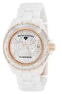 Swiss Legend Women's 20052-WWTR Diamonds Pave Diamond Dial White Ceramic Watch