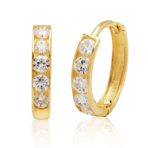 14k Yellow Gold Cubic Zirconia Channel-Set Baby Hoop Earrings