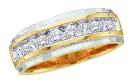 0.25 Cttw 10K Yellow Gold Diamond Mens Channel Ring (Sizes 8-13)