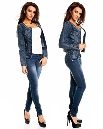 jeansjacke damen glitzer look kurz blazer blue denim l 38. Black Bedroom Furniture Sets. Home Design Ideas