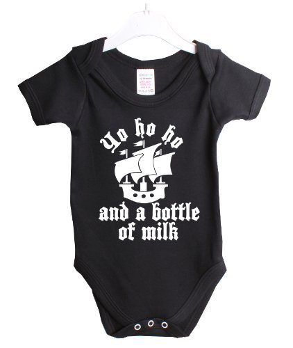Yo Ho Ho And A Bottle Of Milk Pirate Funny Babygrow Baby Suit Gift 3/6 Months Black Vest White Print-3/6 Months Black-White Print