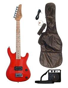 red junior kids mini 3 4 electric guitar amp starter pack guitar temolo amplifier. Black Bedroom Furniture Sets. Home Design Ideas